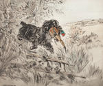After Henry Wilkinson Terriers on the scent Signed in pencil with edition number to the margins 'Henry Wilkingson 42/100' 22cm x 29cm  Together with another of a black labrador and phesant (2)