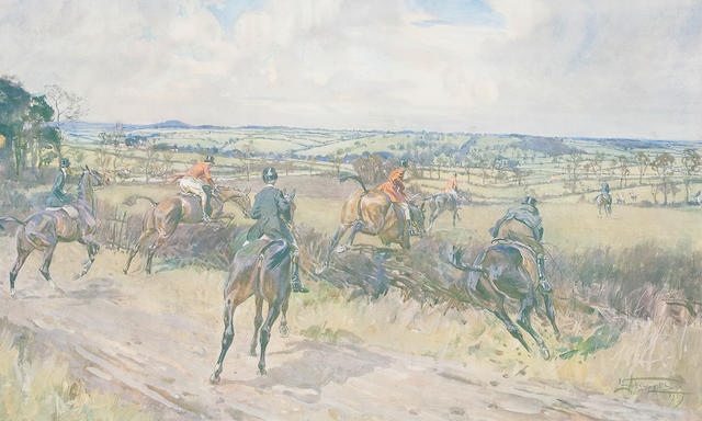 Lionel Dalhousie Robertson Edwards, RI (British, 1878-1966) The old Surrey and Burstow at Burstow signed in pencil and blindstamped 32 x 49cm (12 5/8 x 19 5/16in). <BR />The Quorn 'Across the Quinborough Road'