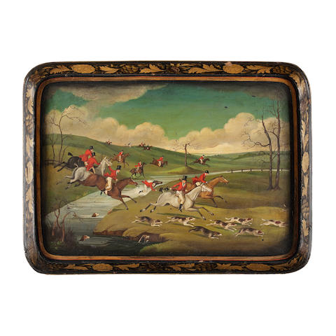 A Tray painted with a hunting scene, some damage