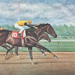 After Richard Stone Reeves Five racing prints  entitled 'Affirmed defeating Alydar, The Belmont Stakes, New York, June 10, 1978'; 'Affirmed defeating the 1979 Classic winners, The Jockey Gold Cup, Belmont Park, New York, October 6th'; 'Genuine Risk defeats Colts, The Kentucky Derby, Churchill Downs, May 3rd, 1980'; 'Pawneese defeats Bruni and Orange Bay, The King George VI and Queen Elizabeth Diamond Stakes, Ascot, July 24, 1976'; 'Forego defeats Honest Pleasure, The Marlboro Cup, Belmont Park, New York, October 2, 1976'.  Published by The Newmarket Gallery of New York City, each signed and numbered in pencil   5