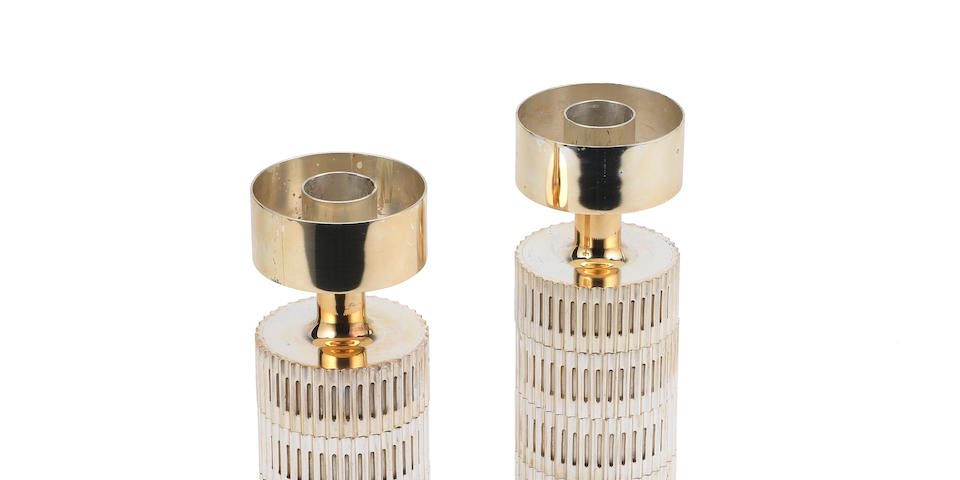 A pair of cylindrical candlesticks Alex Styles London, 1969, for Garrard & Co.  (2)