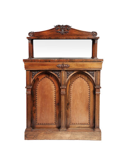 Victorian Gothic rosewood chiffonier