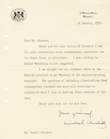 "CHURCHILL (WINSTON) Typed letter signed (""Winston S. Churchill""), to his Swedish publisher Bertil Sterner, 1955"