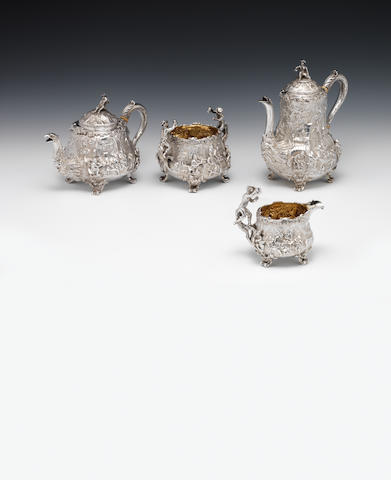 A Victorian silver tea and coffee service By John Samuel Hunt, London 1851 - 52, incuse stamped Hunt & Roskell late Storr, Mortimer & Hunt  (4)