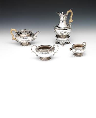 A George III silver four piece tea service Paul Storr London 1817  (5)