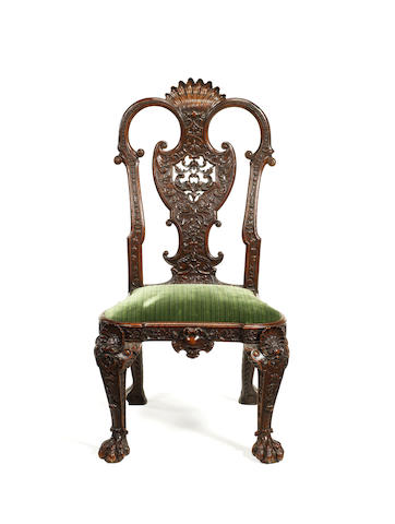 A George I style carved walnut side chair