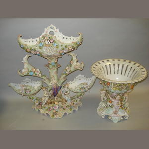 A late 19th century Dresden table centre piece,