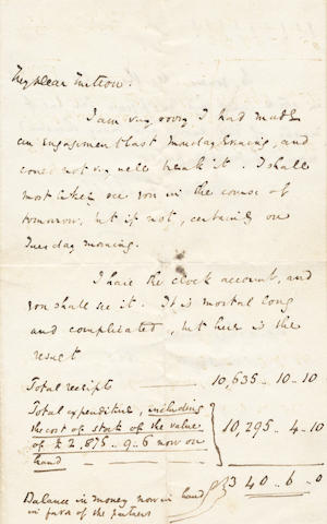 "DICKENS (CHARLES) Autograph letter signed (""CD""), to his schoolfellow and solicitor Thomas Mitton, summarizing the accounts for Master Humphrey's Clock, [1840]"