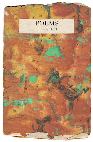 ELIOT (T.S) Poems, FIRST EDITION, FIRST ISSUE of the author's second book of poetry, Hogarth Press, 1919