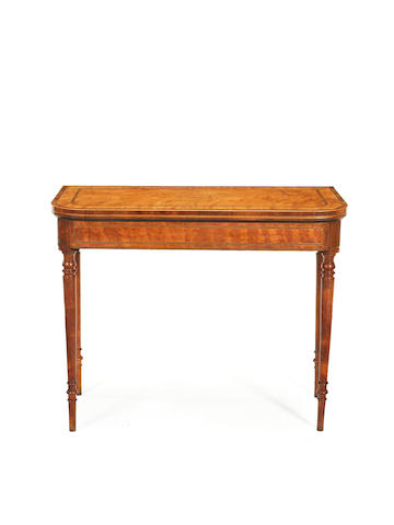 A late George III satinwood and goncalo alves card table
