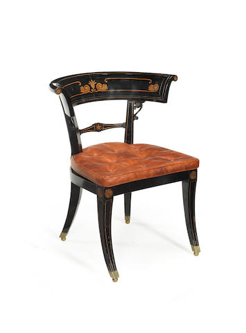 A Regency ebonised and beech 'Klismos' chair
