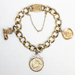 Gold charm bracelet with a half sovereign