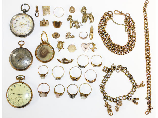 A collection of old 9 carat gold jewellery, dress rings, 3 watches etc (a lot)