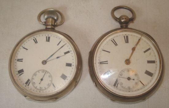 A silver cased open face pocket watch, the keywind movement numbered 27551, white enamel dial with second subsidiary, case hallmarked 1882, and another case hallmarked Birmingham 1910. (2)