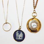 18ct gold fob watch a/f, chain jasper cameo on chain, chain ring