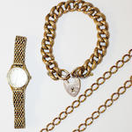 Hollow 9ct curb link bracelet, 9ct watch chain (worn), Omega lady's watch