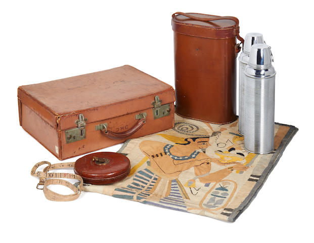 Howard Carter archive, as listed on the 2 receipts; including a large collection of letters, photographs, several volumes of typed and manuscript notes, a suitcase, tape measure, thermos flasks, textile etc.
