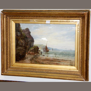 William Gilbert Foster, Coastal landscapes with sailing vessels and fisherfolk, pair, oil on canvas, 39cm x 59c, signed