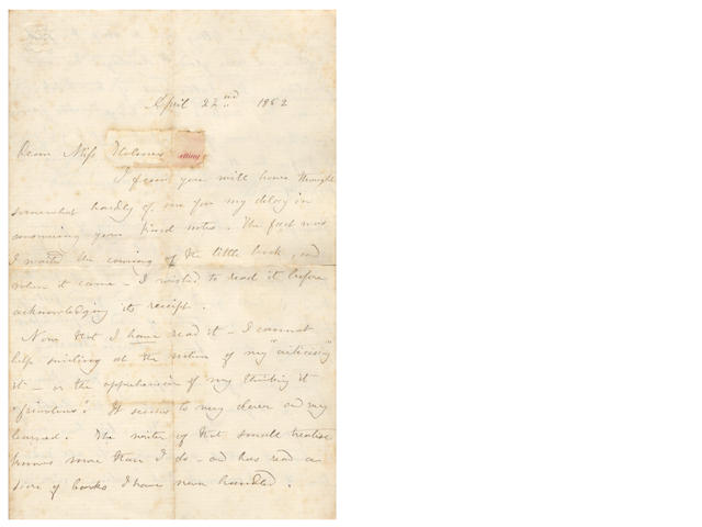 "BRONTË (CHARLOTTE) Autograph letter signed (""C Brontë""), to Miss Holmes, complimenting her on her book, 1852"