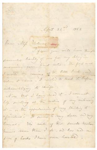 "BRONTË (CHARLOTTE) Autograph letter signed (""C Brontë""), to Miss Holmes, complimenting her on her book, 1852"
