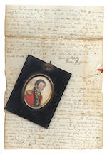 Red binder of letters, passport, medal + citation, family tree, miniature portraits (Nelson + Girdleston)