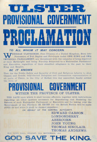 ULSTER PROCLAMATION OF A PROVISIONAL GOVERNMENT Ulster Provisional Government Proclamation