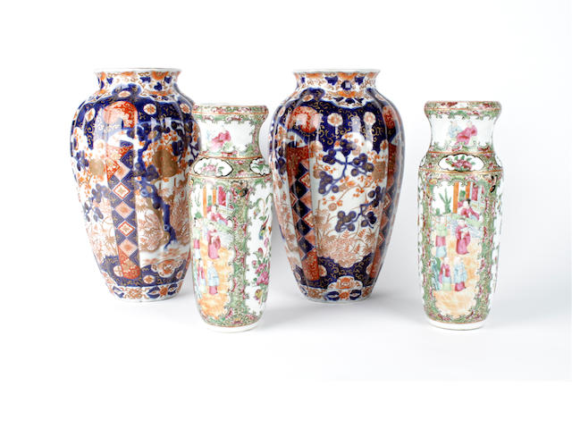 A pair of Japanese Imari vases and a pair of Canton Export vases