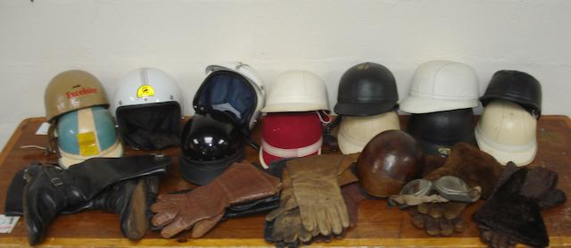 Fourteen assorted motorcycle helmets,