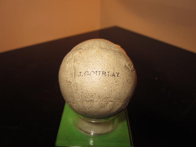 A John C. Gourlay 28 feather golf ball circa 1845