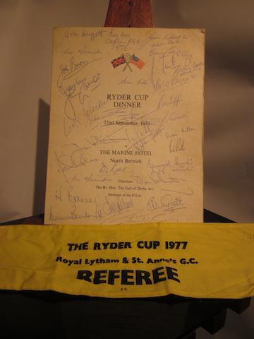 A 20th Ryder Cup 'Ryder Cup Dinner' 22 September 1973 menu