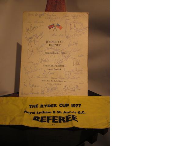 A 20th Ryder Cup 'Ryder Cup Dinner' 22 September 1973 menu