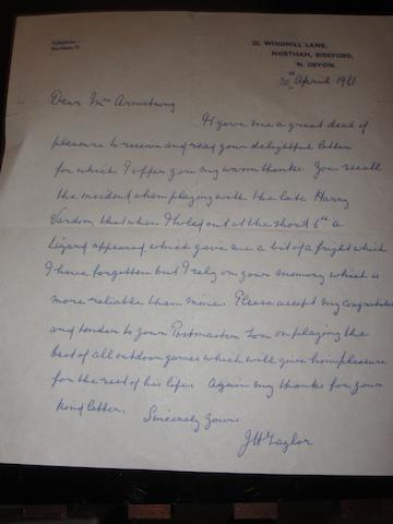 J.H. Taylor: a signed letter on his personal stationary dated 1961