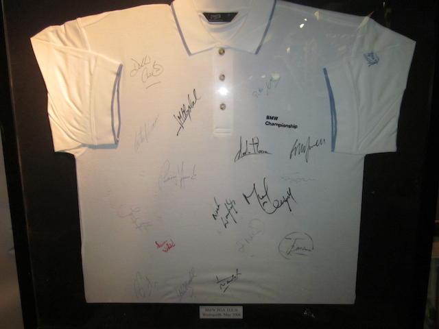 An autographed BMW PGA Championship golf shirt
