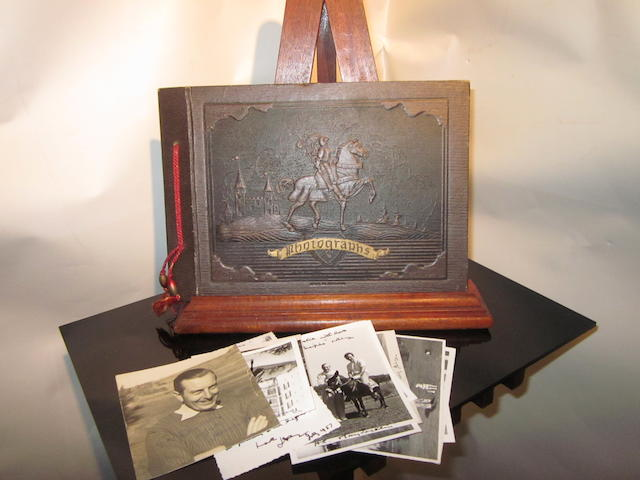 A contemporary leather covered photograph album
