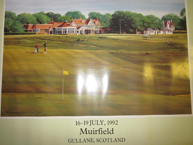 A collection of 4 official Open Championship advertising prints By Quadrant, featuring 1990 St. Andrews, 1992 Muirfield, 1991 Royal Birkdale and 1993 Royal St. George's, all 4 ready for framing.  20 x 24 inches