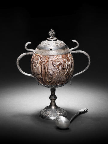 An important & rare Anglo-Indian silver and carved coconut cup and cover mid 19th Century