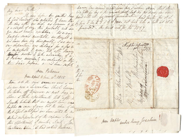 FRANCE and ITALY DURING NAPOLEON'S FIRST EXILE. Series of 24 autograph letters by J.J. Blackburne to his father John Blackburne, MP, of Warrington, written while travelling in France, Switzerland, Germany, Italy and Brussels between 1814 and 1816