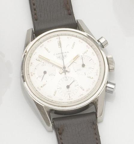 Heuer. A stainless steel manual wind chronograph wristwatch Carrera, Ref:2774T, Case No. 92907, Circa 1966