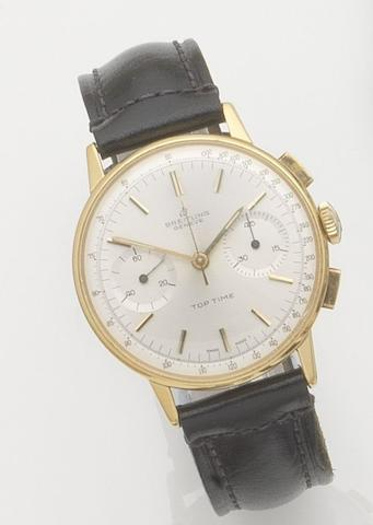 Breitling. A gold plated manual wind chronograph wristwatchTop Time, Ref:2000, Case No.998696, 1960's