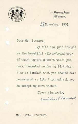 "CHURCHILL (WINSTON) Typed letter signed (""Winston S. Churchill""), to his Swedish publisher Bertil Sterner, 1954"