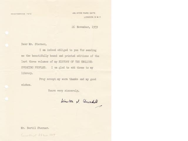 "CHURCHILL (WINSTON) Typed letter signed (""Winston S. Churchill""), to his Swedish publisher Bertil Sterner, 1959"