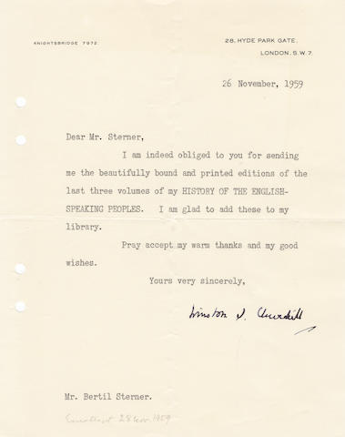 "CHURCHILL (WINSTON) Typed letter signed (""Winston S. Churchill""), to his Swedish publisher Bertil Sterner, 1959"
