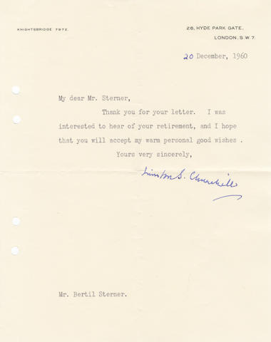 "CHURCHILL (WINSTON) Typed letter signed (""Winston S. Churchill""), to his Swedish publisher Bertil Sterner, 1960"