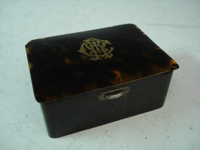A Victorian silver mounted tortoiseshell box by HA, London 1897