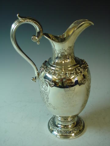 A commemorative ewer for the Silver Wedding Anniversary of Her Majesty Queen Elizabeth II and His Royal Highness the Duke of Edinburgh by Garrard and Co, London 1972