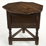 A rare Charles I oak joined triangular table/cupboard Circa 1640