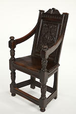 A rare Elizabeth I carved oak panel back armchair Circa 1570, possibly Salisbury