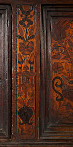 A fine Elizabeth I oak, fruitwood and marquetry court cupboard upper section Anglo-German, 1580-90