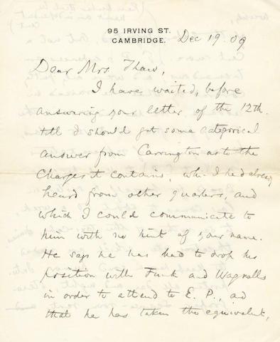 JAMES (WILLIAM) Autograph letter signed ('Wm James'), to Mrs Thaw, about the celebrated visit of the internationally famous Italian medium E[usapia] P[alladino] to America in 1909
