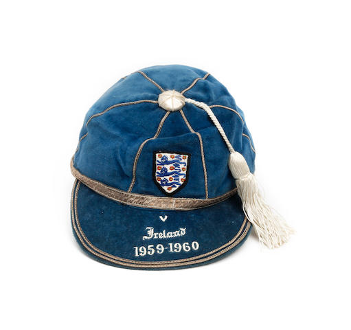 A 1959/60 England international football cap awarded to Jonny Haynes